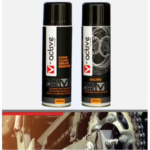 KIT:  WB®V5 RACING Lubrificante Anticorrosivo para Correntes de Motocicletas e WB®V6 Removedor de Graxa
